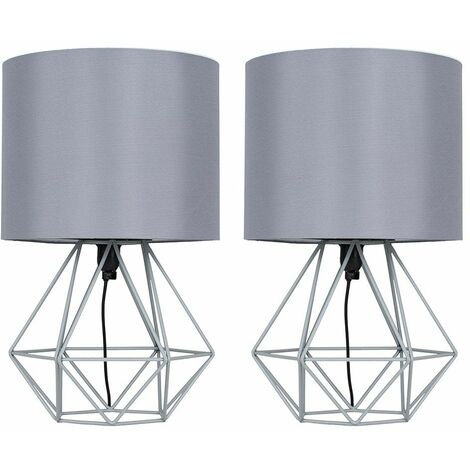 Pair Of Angus Cage Table Lamps - Grey / Grey - Grey