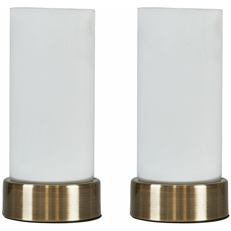 Pair Of Antique Brass Touch Table Lamps & Frosted Glass Shades - No