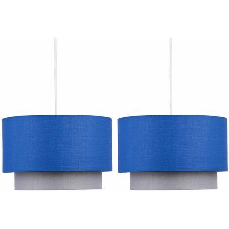 Pair of Blue & Grey 2 Tier Light Shades