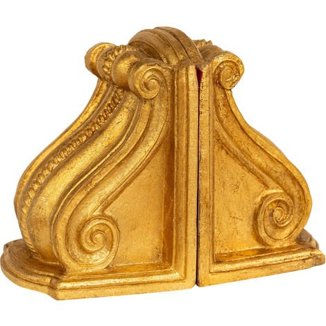 Pair of bookends in antique gold leaf finish wood Made in Italy