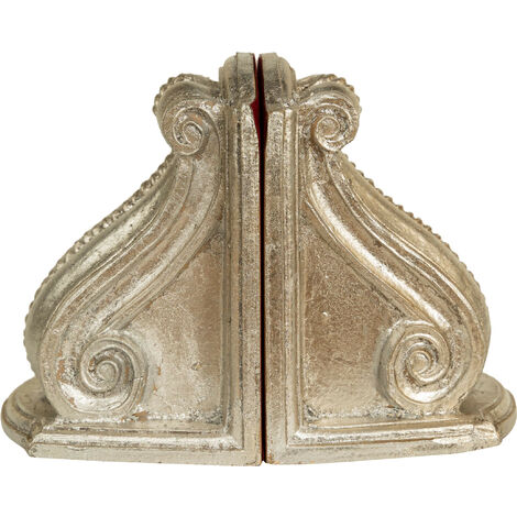 Pair of bookends in antique silver finish wood Made in Italy