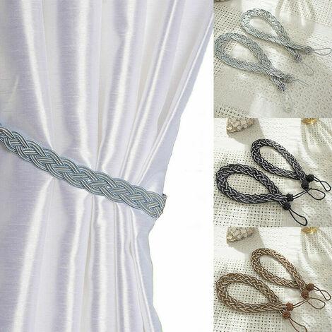Pair Of Braided Satin Rope Curtain Tie Backs Tiebacks Holdbacks Curtain & Voile - Different colours
