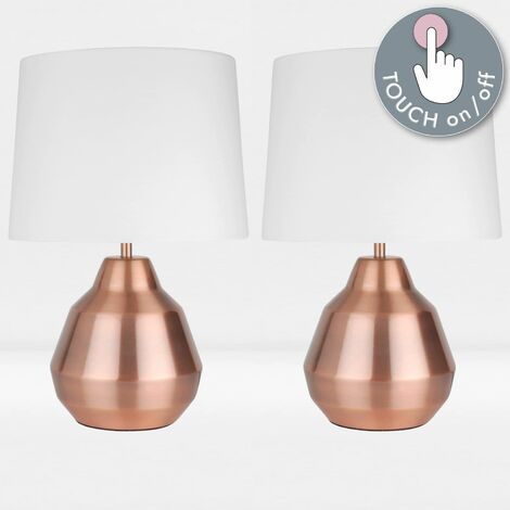 Pair of Brushed Copper 39cm Touch Lamps with White Shades