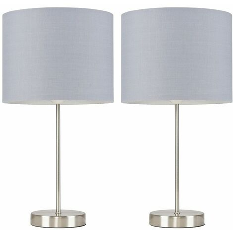 Pair of Charlie Table Lamps in Brushed Chrome with Rolla Shade - Grey - Silver