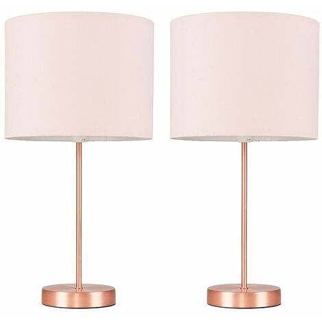 Pair of Charlie Table Lamps in Copper with Rolla Shade + 4W LED Candle Bulb - Pink - Copper