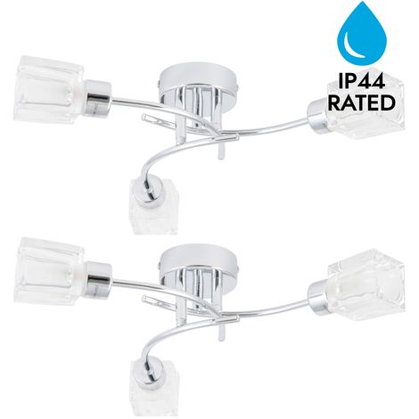 Pair of Chrome 3 Light Spiral IP44 Ceiling Fittings with Ice Cube Glass Shades