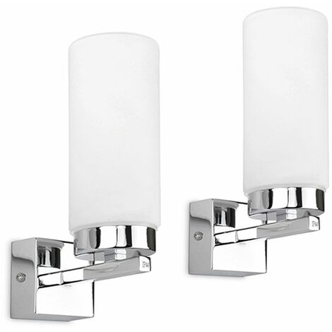 Pair of Chrome Bathroom Wall Lights + Frosted Glass Shades - IP44