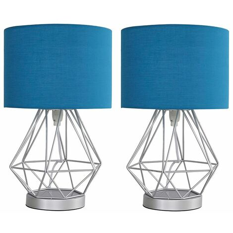 Pair of Chrome Metal Basket Cage Touch Table Lamps + French Blue Shade + 5w LED Dimmable Bulbs Warm White