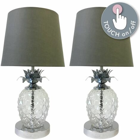 Pair of Chrome Pineapple Touch Lamps with Grey Shades