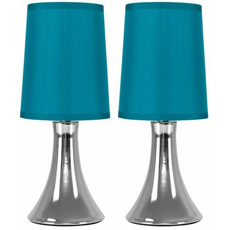 Pair of Chrome Trumpet Touch Dimmer Table Lamps + Teal Fabric Shades