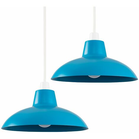 Pair of Civic Metro Ceiling Light Shades with LED Bulbs - Blue