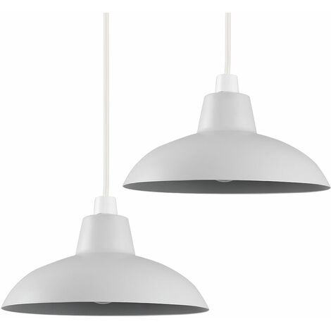 Pair of Civic Metro Ceiling Light Shades with LED Bulbs - Grey