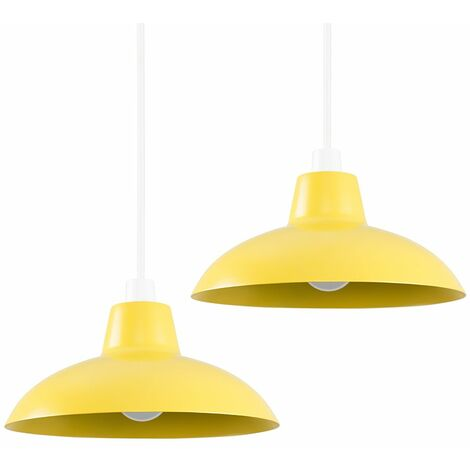 Pair of Civic Metro Ceiling Light Shades with LED Bulbs - Mustard