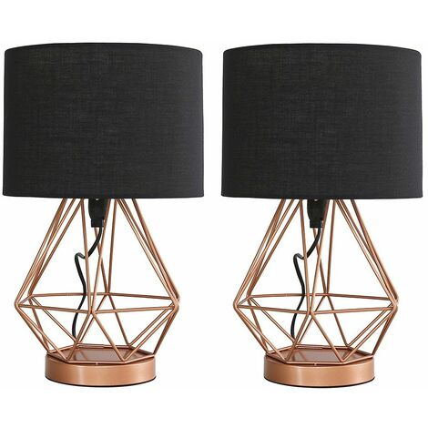 Pair of Copper Metal Basket Cage Touch Table Lamps + Black Shade + 5w LED Dimmable Bulbs Warm White