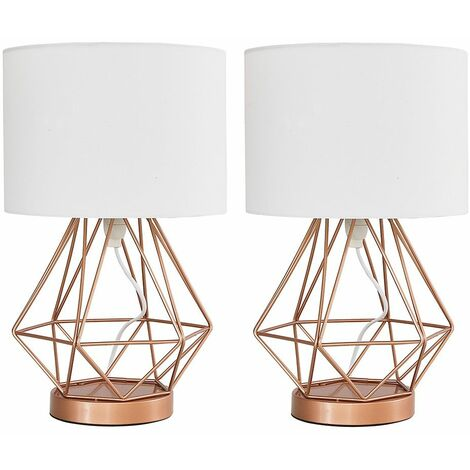 Pair of Copper Metal Basket Cage Touch Table Lamps + White Cylinder Shade