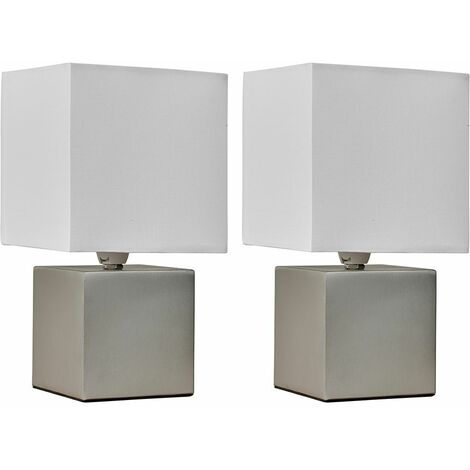 Pair Of Cube Touch Dimmer Bedside Table Lamps + LED Dimmable Candle Bulbs - Brushed Chrome - Silver