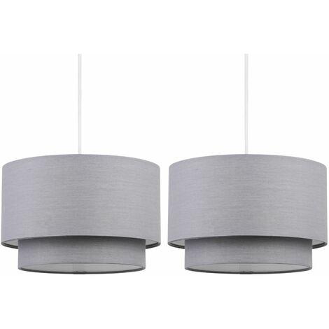 Pair of Dark Grey 2 Tier Ceiling Light Shades