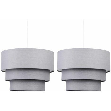 Pair of Dark Grey 3 Tier Ceiling Light Shades