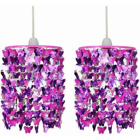 Pair of Fuchsia Butterfly Easy Fit Light Shades