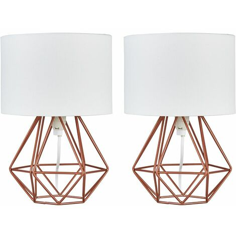 Pair Of Geometric Table Lamps With Shades + LED Bulbs - Copper & White