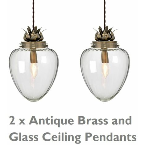 Pair of Glass & Antique Brass Ceiling Pendants