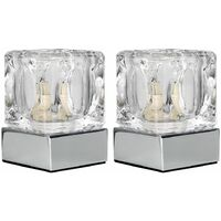 Pair of Glass Ice Cube Touch Dimmer Table Lamps + Chrome Bases