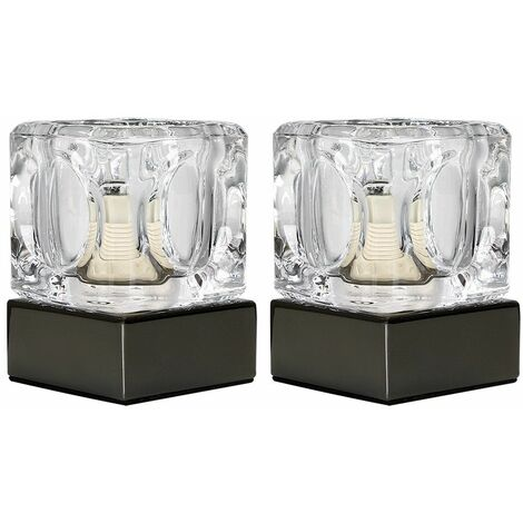 Pair Of Glass Ice Cube Touch Table Lamps - Black Chrome - Black