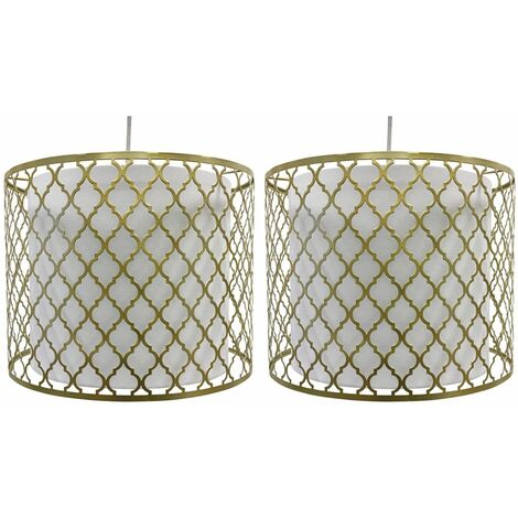 Pair of Gold Cut Out Light Shades