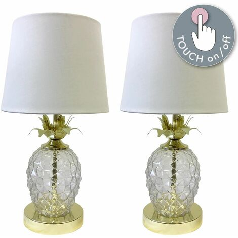 Pair of Gold Pineapple Touch Lamps with White Shades