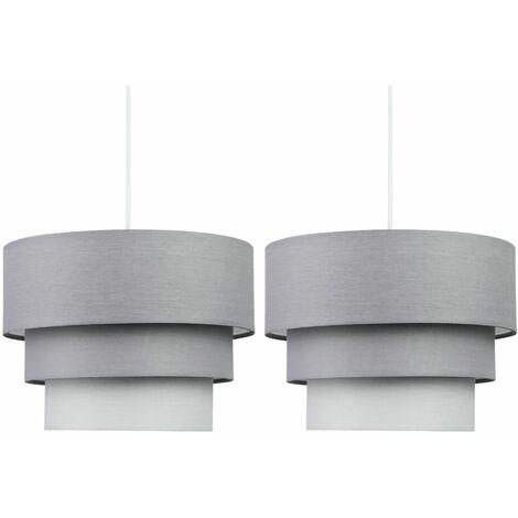 Pair of Grey Ombre 3 Tier Ceiling Light Shades