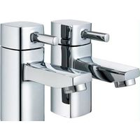 Pair Of Hot & Cold Chrome Bathroom Basin Sink Pillar Taps Square Design (ICE 2)