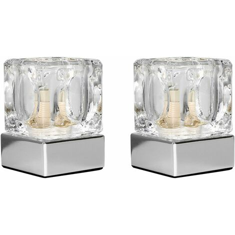 Pair of Ice Cube Touch Table Lamps + 3W LED Bulbs - Chrome - Silver