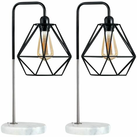 Pair of LED Talisman Marble Base Table Lamps in Brushed Chrome with Diablo Shades - Black Shades - Silver
