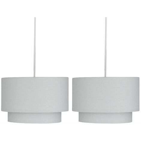 Pair of Light Grey 2 Tier Ceiling Light Shades