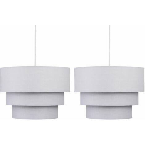 Pair of Light Grey 3 Tier Ceiling Light Shades