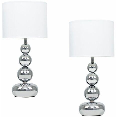 Pair of Marissa Chrome Touch Table Lamp White Shade EURO