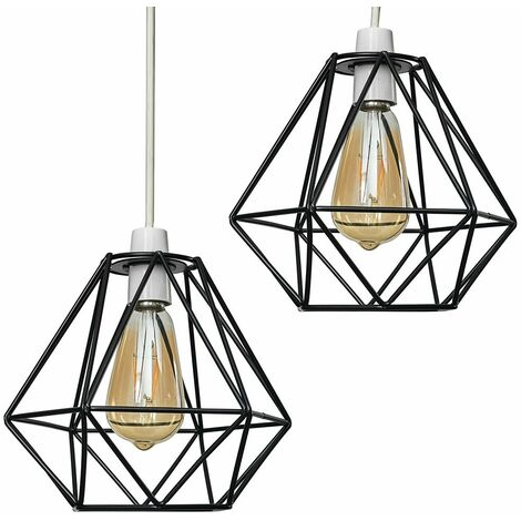Pair Of Metal Basket Cage Ceiling Pendant Light Shades - Copper - Copper