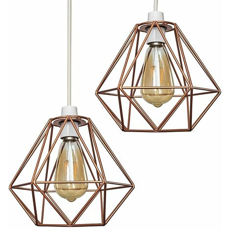 Pair Of Metal Basket Cage Ceiling Pendant Light Shades with 4W LED Filament Bulbs