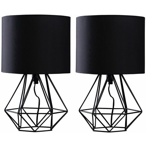 Pair Of Metal Basket Cage Table Lamps + 4W LED Golfball Bulbs