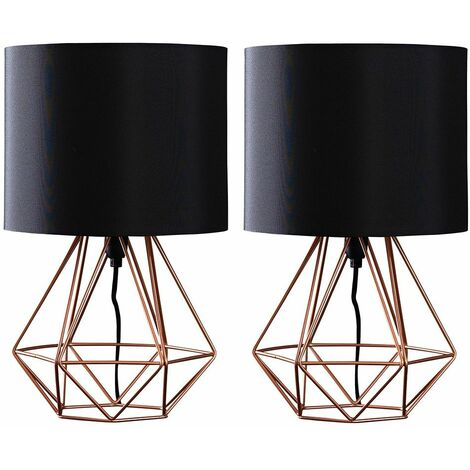 Pair Of Metal Basket Cage Table Lamps + 4W LED Golfball Bulbs - Grey / Grey - Copper