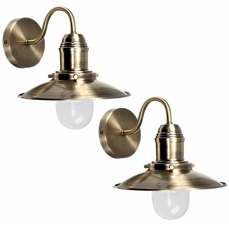 Pair Of Metal & Glass Fisherman'S Lantern Wall Lights - Brass - Gold