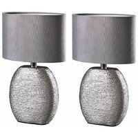 Pair of Metallic Chrome Ceramic Table Lamps + Grey Fabric Light Shades