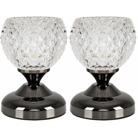 Pair Of Modern Decorative Glass Bedside Touch Table Lamps
