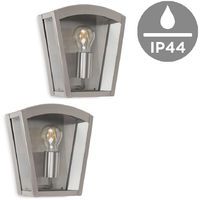 Pair of Modern IP44 Rated Stainless Steel Box Design Outdoor Wall Lights