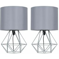 Pair of Modern Metal Basket Cage Table Lamps with a Cotton Shade + 4w LED Golfball Bulbs