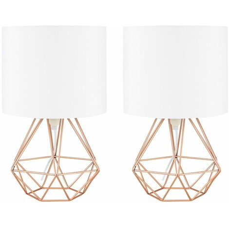 Pair of Modern Metal Basket Cage Table Lamps with a Cotton Shade