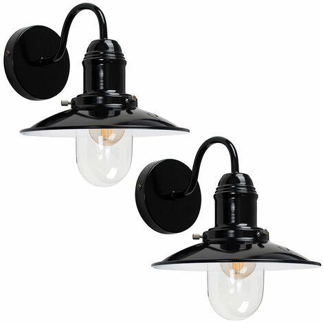 Pair of Modern Metal & Glass Retro Fisherman's Lantern Wall Lights