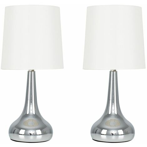 Pair Of Modern Teardrop Touch Table Lamps With Cotton Shades