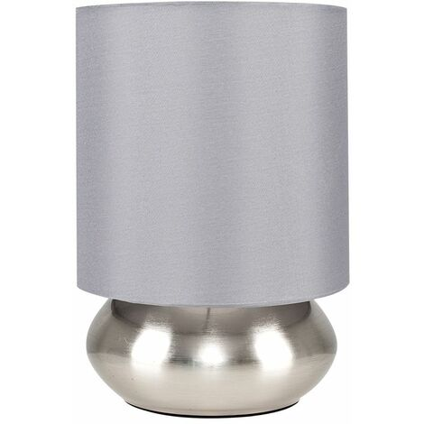 Pair Of Modern Touch Table Lamps - Black - Silver