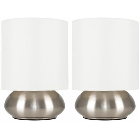 Pair Of Modern Touch Table Lamps With Shades